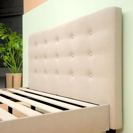 Beid Upholstered Button Tufted Platform Queen Bed Tan