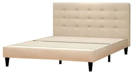 Beid Upholstered Button Tufted Platform Full Bed Tan