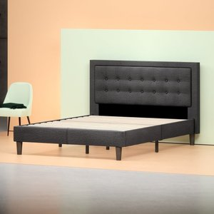 Auva Upholstered Tufted Center Platform Queen Bed