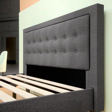 Auva Upholstered Tufted Center Platform Queen Bed Dark Gray
