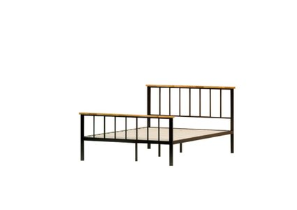 Alya Metal and Wood Contemporary Platform Twin Bed Black