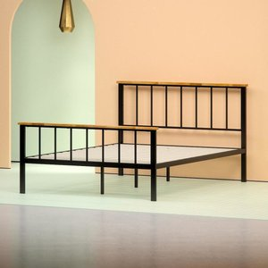 Alya Metal and Wood Contemporary Platform Full Bed