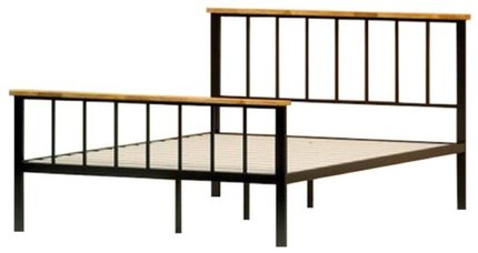 Alya Metal and Wood Contemporary Platform Full Bed Black
