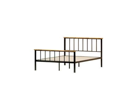 Alya Metal and Wood Contemporary Platform Queen Bed Black