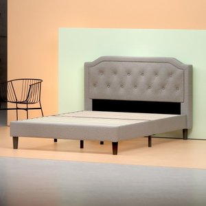 Altair Upholstered Scalloped Platform Queen Bed Light Gray