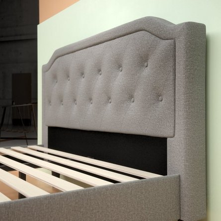 Altair Upholstered Scalloped Platform Queen Bed Light Gray