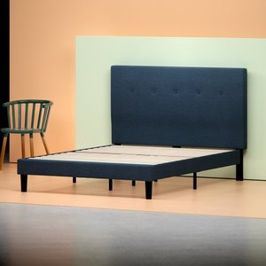 Alrai Upholstered Navy Platform Queen Bed