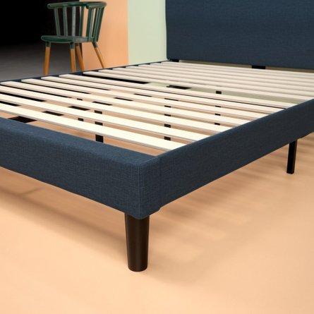 Alrai Upholstered Navy Platform Full Bed Navy