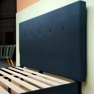 Alrai Upholstered Navy Platform Queen Bed Navy