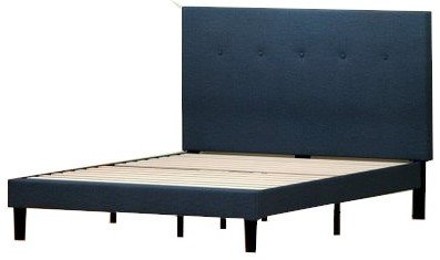 Alrai Upholstered Platform Queen Bed Navy