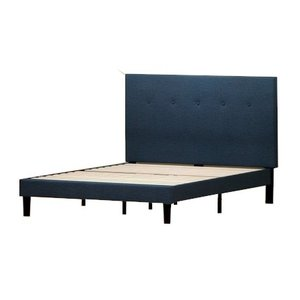 Alrai Upholstered Navy Platform Queen Bed Navy