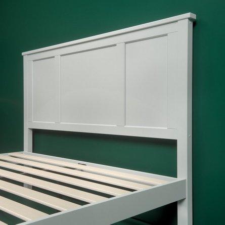 Adara Wooden Country Platform Queen Bed Light Gray