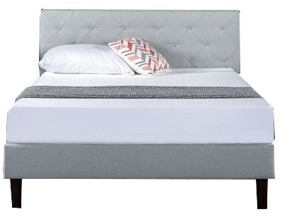 Elio Upholstered Diamond Stitched Platform Full Bed Sage Gray
