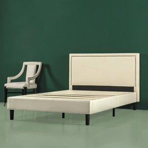 Zoho Nailhead Platform Queen Bed Beige