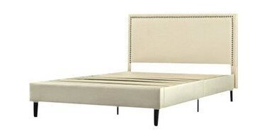 Julio Upholstered Nailhead Platform King Bed Beige