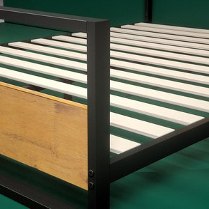 Suzanne Low Profile Platform Twin Bed With Footboard Black & Natural