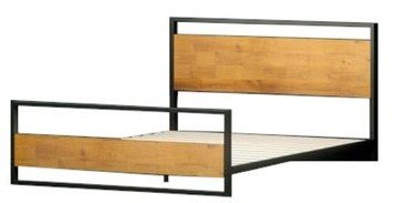 Suzanne Low Profile Platform Queen Bed With Footboard Black & Natural
