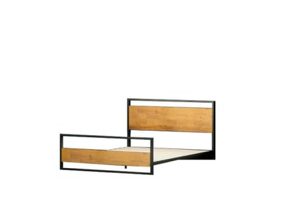Suzanne Low Profile Platform King Bed With Footboard Black & Natural