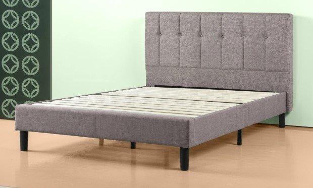 Brandy Upholstered Platform Queen Bed Gray