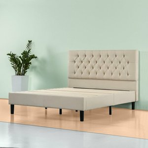 Misty Upholstered Modern Classic Tufted Platform King Bed Gray