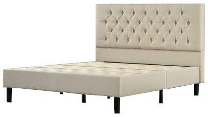 Misty Upholstered Modern Classic Tufted Platform Queen Bed Gray