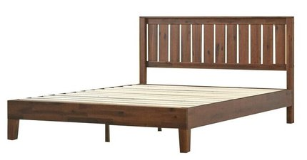 Vivek Deluxe Wood Platform Queen Bed With Headboard Antique Espresso