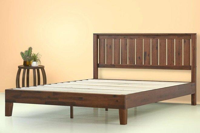Vivek Deluxe Wood Platform Queen Bed With Headboard Antique Espresso