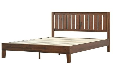 Vivek Deluxe Wood Platform King Bed With Headboard Antique Espresso
