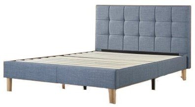 Lottie Upholstered Square Stitched Platform Queen Bed Light Blue