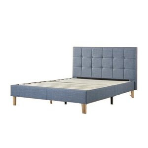 Lottie Upholstered Square Stitched Platform King Bed Light Blue