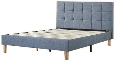 Lottie Upholstered Square Stitched Platform Full Bed Light Blue