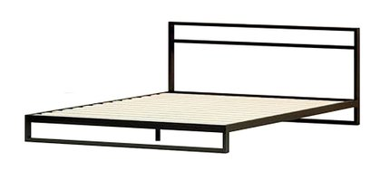 Trisha Steel Low Profile Platform Twin Bed With Headboard Black