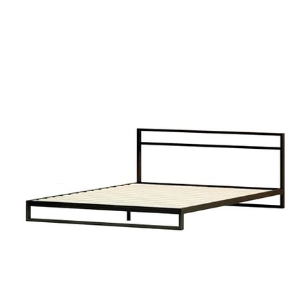 Trisha Steel Low Profile Platform Full Bed With Headboard Black