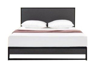 Christina Upholstered Platform Queen Bed Dark Gray And Black
