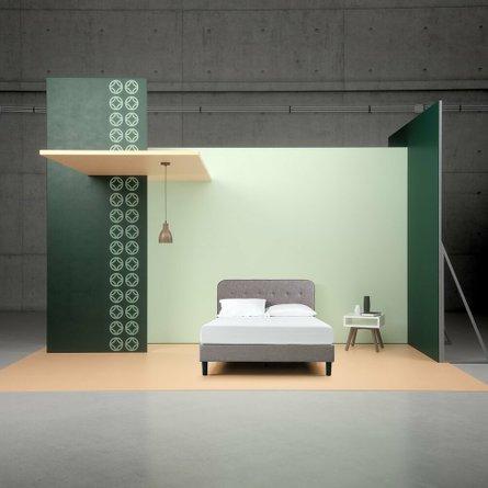 Melodey Upholstered Curved Platform King Bed Gray