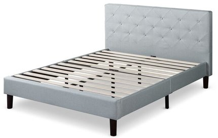 Agnese Upholstered Platform Queen Bed Gray/Black
