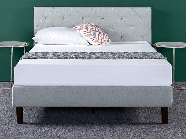 Agnese Upholstered Platform Queen Bed Gray & Black
