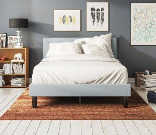 Hutton Upholstered Diamond Stitched Platform Full Bed Light Gray