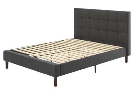 Jasmine Upholstered Square Stitched Platform Full Bed Dark Gray