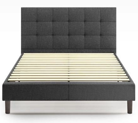 Jasmine Upholstered Square Stitched Platform King Bed Dark Gray