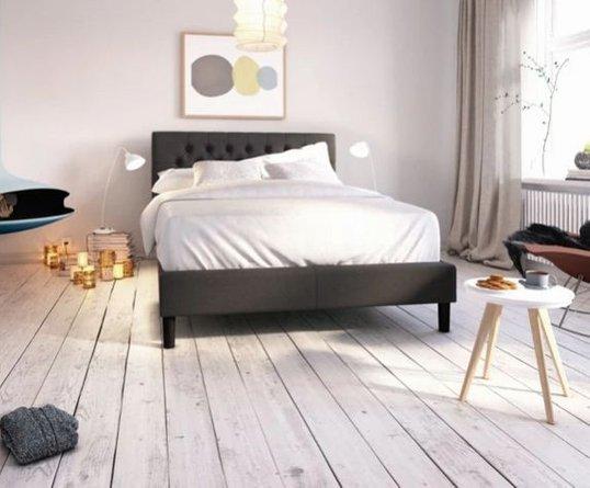 Misty Upholstered Modern Classic Tufted Platform Full Bed Dark Gray