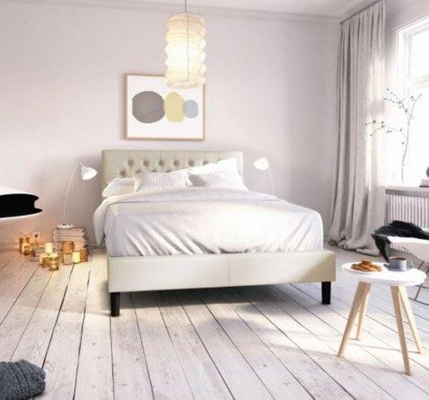 Misty Upholstered Modern Classic Tufted Platform King Bed Taupe