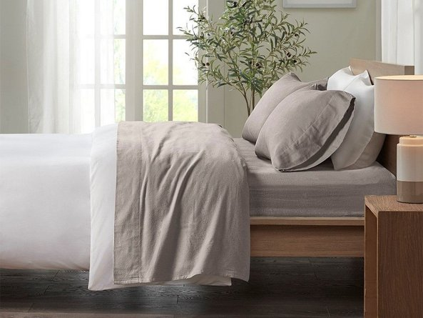 Cozy  Cotton Flannel Full Printed Sheet Set Gray