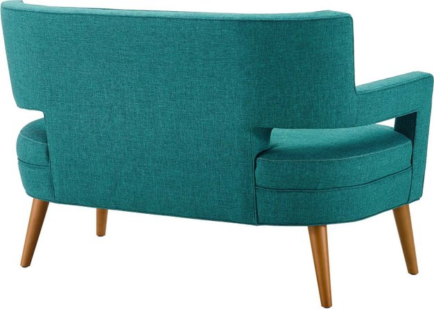 Sheer Upholstered Fabric Loveseat Teal
