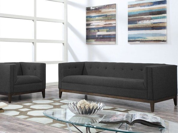 Gavin Linen Sofa Gray