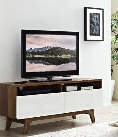 "Origin 47"" TV Stand Walnut & White"