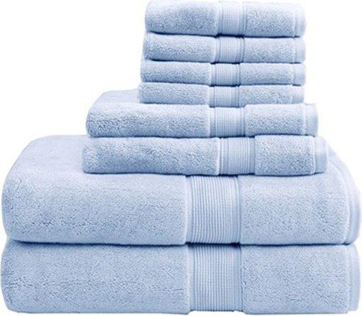 800GSM 8-Piece Towel Set Light Blue