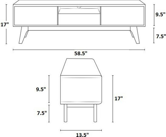 "Envision 59"" TV Stand Walnut & White"