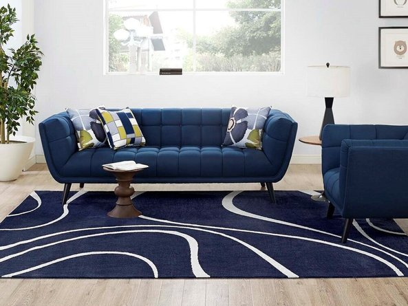 Therese Abstract Swirl 8' x 10' Area Rug Navy And Ivory