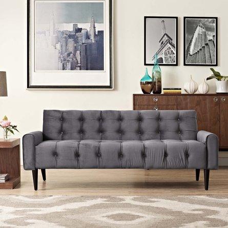 Delve Performance Velvet Sofa Gray